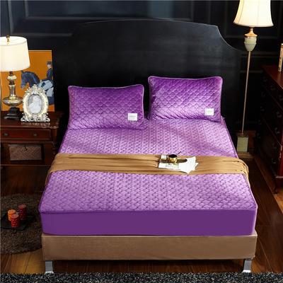 (总)金龙家纺 水晶绒纯色夹棉床笠枕套可单拍 120cmx200cm(定做规格) 雪青
