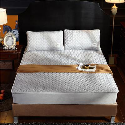 (总)金龙家纺 水晶绒纯色夹棉床笠枕套可单拍 120cmx200cm(定做规格) 银灰