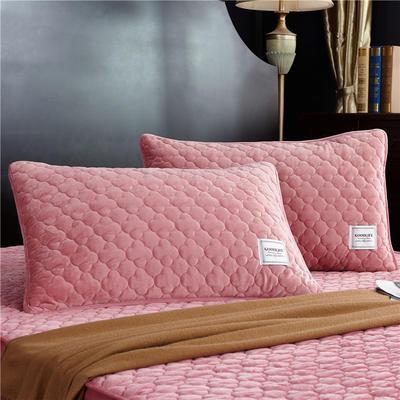 (总)金龙家纺 水晶绒纯色夹棉枕套单品一对 48cmX74cm 粉玉