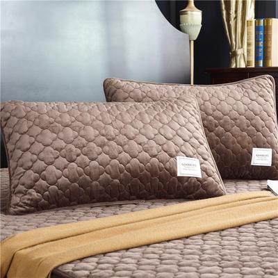 (总)金龙家纺 水晶绒纯色夹棉枕套单品一对 48cmX74cm 咖啡