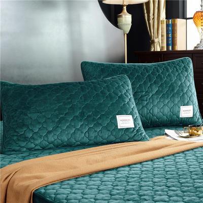 (总)金龙家纺 水晶绒纯色夹棉枕套单品一对 48cmX74cm 墨绿