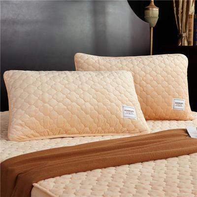 (总)金龙家纺 水晶绒纯色夹棉枕套单品一对 48cmX74cm 浅驼