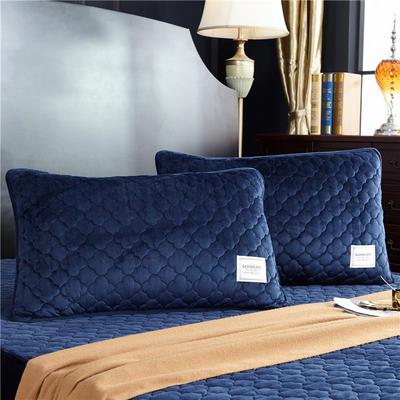 (总)金龙家纺 水晶绒纯色夹棉枕套单品一对 48cmX74cm 深蓝