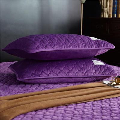 (总)金龙家纺 水晶绒纯色夹棉枕套单品一对 48cmX74cm 雪青