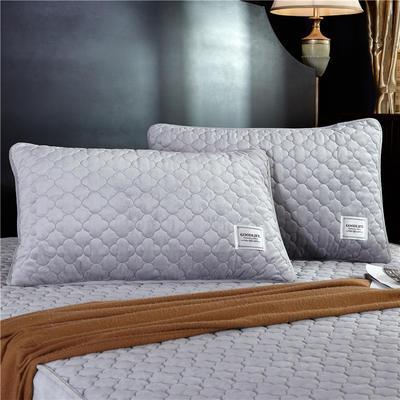 (总)金龙家纺 水晶绒纯色夹棉枕套单品一对 48cmX74cm 银灰