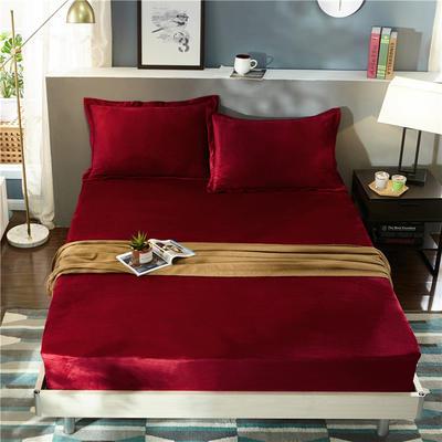 (总)金龙家纺 水晶绒纯色床笠30cm高可选配枕套 配对枕套一对 酒红