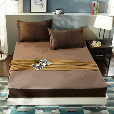 (总)金龙家纺 水晶绒纯色床笠30cm高可选配枕套 配对枕套一对 咖啡