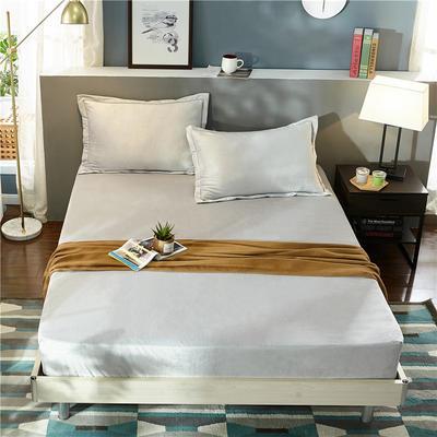 (总)金龙家纺 水晶绒纯色床笠30cm高可选配枕套 配对枕套一对 银灰