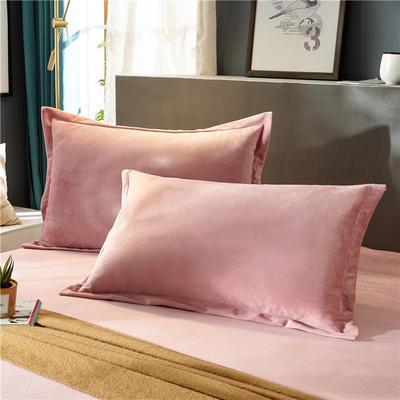 (总)金龙家纺 水晶绒纯色枕套单品一对 48cmX74cm 粉玉