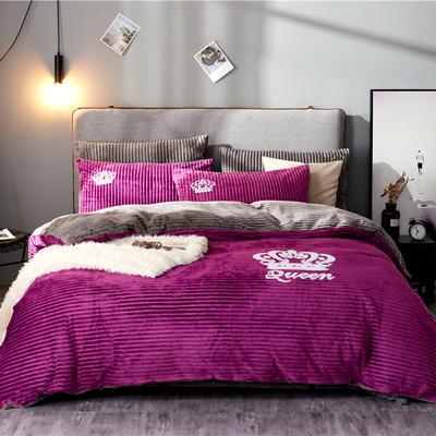 金龙家纺 双面魔法绒拼色毛巾绣四件套 1.8m(6英尺)床 安娜紫