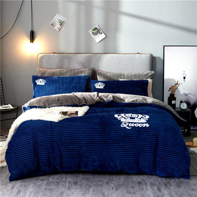 金龙家纺 双面魔法绒拼色毛巾绣四件套 1.8m(6英尺)床 梦之蓝