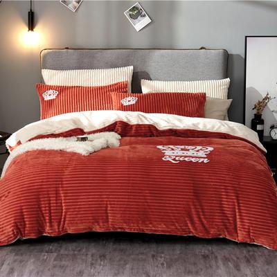 金龙家纺 双面魔法绒拼色毛巾绣四件套 1.8m(6英尺)床 热情橙