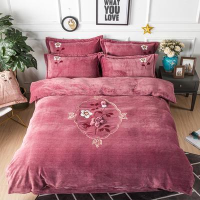 金龙家纺 牛奶绒毛巾绣刺绣手工花款四件套 1.8m(6英尺)床 锦瑟年华-豆沙