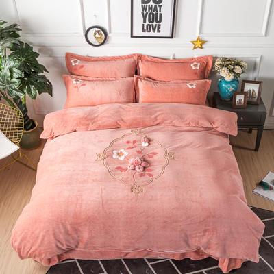 金龙家纺 牛奶绒毛巾绣刺绣手工花款四件套 1.8m(6英尺)床 锦瑟年华-粉玉