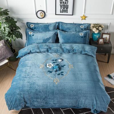 金龙家纺 牛奶绒毛巾绣刺绣手工花款四件套 1.8m(6英尺)床 锦瑟年华-兰