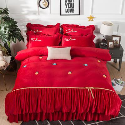 金龙家纺 水晶绒毛巾绣荷叶边丝带工艺床单款四件套 1.8m(6英尺)床 悠悠情深-大红