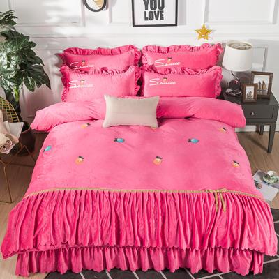 金龙家纺 水晶绒毛巾绣荷叶边丝带工艺床单款四件套 1.8m(6英尺)床 悠悠情深-粉红