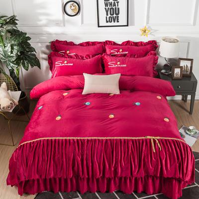 金龙家纺 水晶绒毛巾绣荷叶边丝带工艺床单款四件套 1.8m(6英尺)床 悠悠情深-酒红