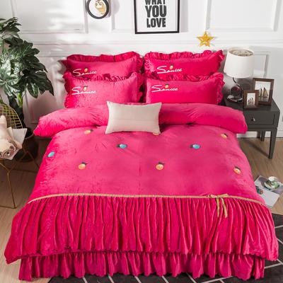 金龙家纺 水晶绒毛巾绣荷叶边丝带工艺床单款四件套 1.8m(6英尺)床 悠悠情深-玫红