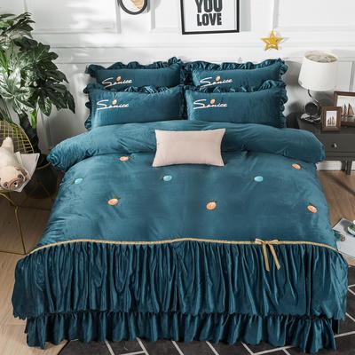 金龙家纺 水晶绒毛巾绣荷叶边丝带工艺床单款四件套 1.8m(6英尺)床 悠悠情深-墨绿