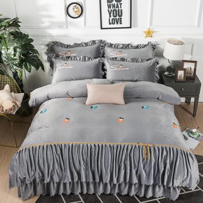 金龙家纺 水晶绒毛巾绣荷叶边丝带工艺床单款四件套 1.8m(6英尺)床 悠悠情深-浅灰