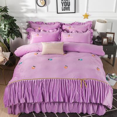 金龙家纺 水晶绒毛巾绣荷叶边丝带工艺床单款四件套 1.8m(6英尺)床 悠悠情深-浅紫