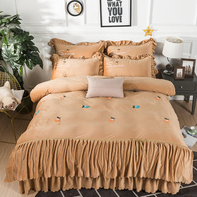 金龙家纺 水晶绒毛巾绣荷叶边丝带工艺床单款四件套 1.8m(6英尺)床 悠悠情深-驼色