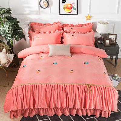 金龙家纺 水晶绒毛巾绣荷叶边丝带工艺床单款四件套 1.8m(6英尺)床 悠悠情深-玉色