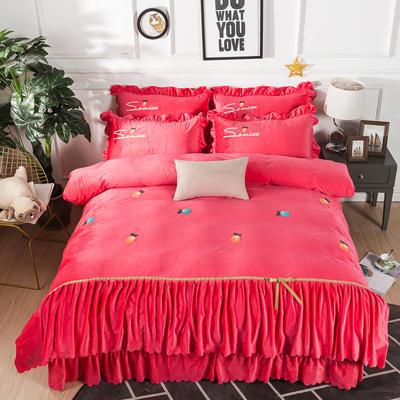 金龙家纺 水晶绒毛巾绣荷叶边丝带工艺床单款四件套 1.8m(6英尺)床 悠悠情深-砖红