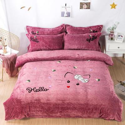 金龙家纺 牛奶绒毛巾绣卡通四件套可爱猫咪系列 1.8m(6英尺)床 可爱猫咪-豆沙