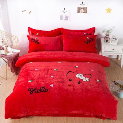 金龙家纺 牛奶绒毛巾绣卡通四件套可爱猫咪系列 1.8m(6英尺)床 可爱猫咪-红