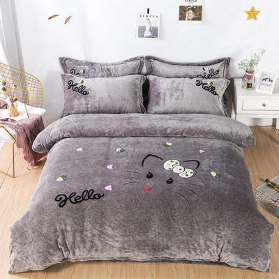 金龙家纺 牛奶绒毛巾绣卡通四件套可爱猫咪系列 1.8m(6英尺)床 可爱猫咪-灰