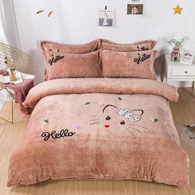金龙家纺 牛奶绒毛巾绣卡通四件套可爱猫咪系列 1.8m(6英尺)床 可爱猫咪-咖