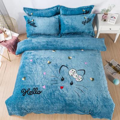 金龙家纺 牛奶绒毛巾绣卡通四件套可爱猫咪系列 1.8m(6英尺)床 可爱猫咪-蓝