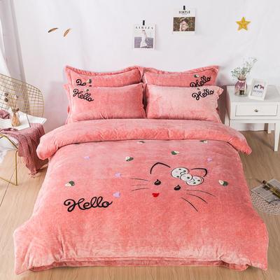 金龙家纺 牛奶绒毛巾绣卡通四件套可爱猫咪系列 1.8m(6英尺)床 可爱猫咪-玉