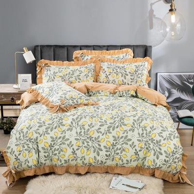 金龙家纺 2020韩版天丝蝴蝶结款四件套 1.5m(5英尺)床 柠檬树下