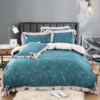 金龙家纺 2020韩版天丝蝴蝶结款四件套 1.5m(5英尺)床 小蜜蜂蓝