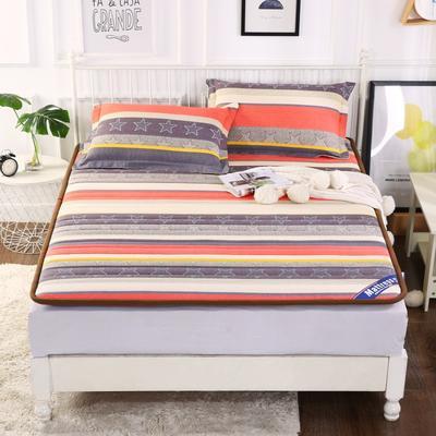 2019新款全棉老粗布宽边床垫 90*200 彩色条纹