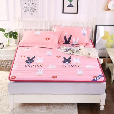 2019新款全棉老粗布宽边床垫 90*200 可爱小兔子