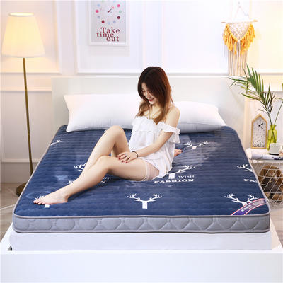 2020新款牛奶绒立体床垫 100×200 牛奶绒麋鹿蓝色(10公分)