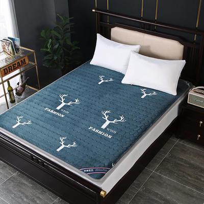 2020新款牛奶绒宽边软床垫 0.9m 牛奶绒宽边鹿蓝