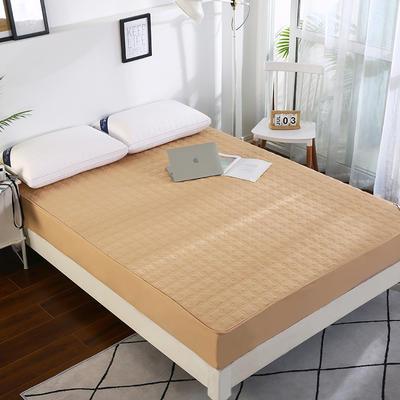 2020新款亲肤夹棉纯色水洗棉磨毛绗缝床笠 1.5m 驼色