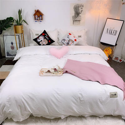 2019新款韩版荷叶边纯棉四件套 1.8m(6英尺)床单款 白色