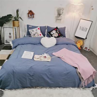 2019新款韩版荷叶边纯棉四件套 1.8m(6英尺)床单款 靛紫