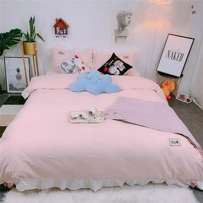 2019新款韩版荷叶边纯棉四件套 1.8m(6英尺)床单款 粉色