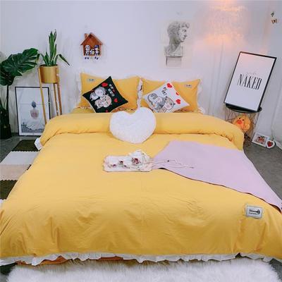 2019新款韩版荷叶边纯棉四件套 1.8m(6英尺)床单款 浅橘色