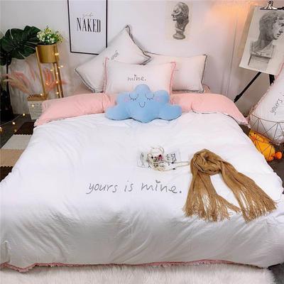 2019新款全棉水洗棉纯棉刺绣四件套 1.8m(6英尺)床单款 白粉色