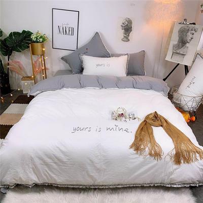 2019新款全棉水洗棉纯棉刺绣四件套 1.8m(6英尺)床单款 白灰色