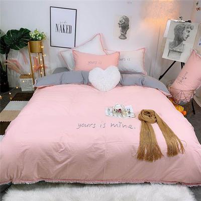 2019新款全棉水洗棉纯棉刺绣四件套 1.8m(6英尺)床单款 粉灰色
