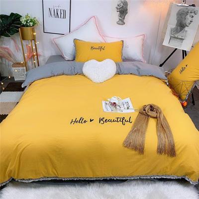 2019新款全棉水洗棉纯棉刺绣四件套 1.5m(5英尺)床单款 柠檬黄灰色